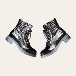 Miz Mooz Black Patent Leather Lace Up Combat Boots